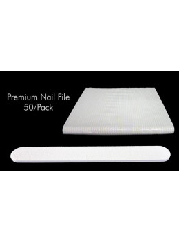 "7"" Premium White Nail File  - Pack/50 PCS"