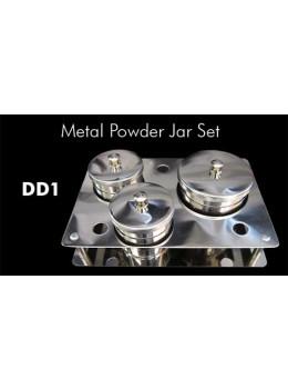 3pcs Stainless Steel Metal Powder Jar Set