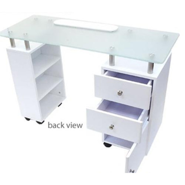 Glass Top Nail Table White